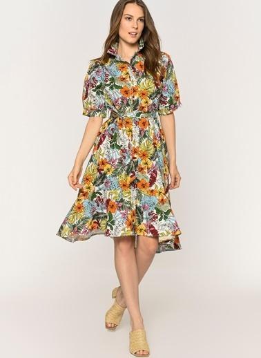 Loves You Eteği Volanlı Çiçek Desenli Poplin Gömlek Elbise Haki